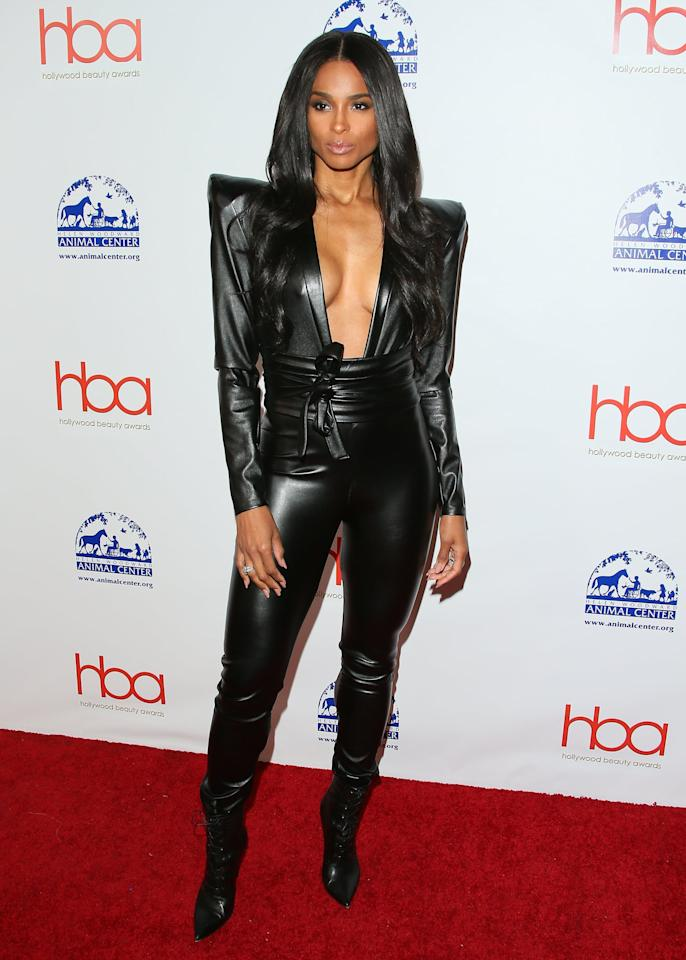 <p>At the fifth annual Hollywood Beauty Awards in Los Angeles, Ciara was spotted in a custom Michael Costello head-to-toe leather jumpsuit with exaggerated '80s shoulder pads and a cutout that went all the way down to her toned midriff. </p>