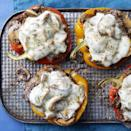 <p>Mounding a classic Philly cheesesteak mixture in a colorful bell pepper and melting cheese on top is an easy way to skip the bread and cut the carbs.</p>