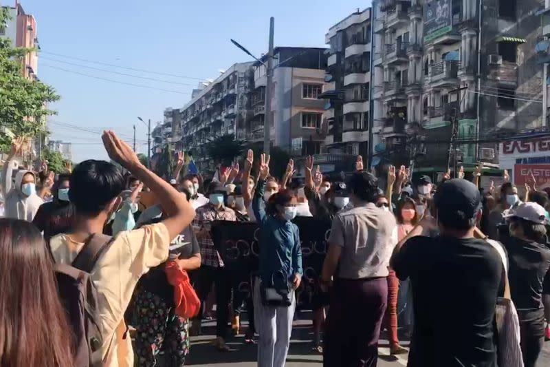 People protest in Hlaing Township, Yangon