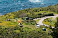 """<p><strong>Best camping in California:</strong> Kirk Creek Campground, Los Padres National Forest </p> <p>Camping at the confluence of crumbling oceanside cliffs and coastal redwoods is a uniquely Californian way to spend a weekend. Set high on a plateau overlooking the Pacific, Kirk Creek is the perfect place to """"rough it"""" while remaining close to the laidback town of <a href=""""https://www.cntraveler.com/story/3-days-in-monterey-and-big-sur?mbid=synd_yahoo_rss"""" rel=""""nofollow noopener"""" target=""""_blank"""" data-ylk=""""slk:Big Sur"""" class=""""link rapid-noclick-resp"""">Big Sur</a>—it's just a 30-minute drive north.</p>"""