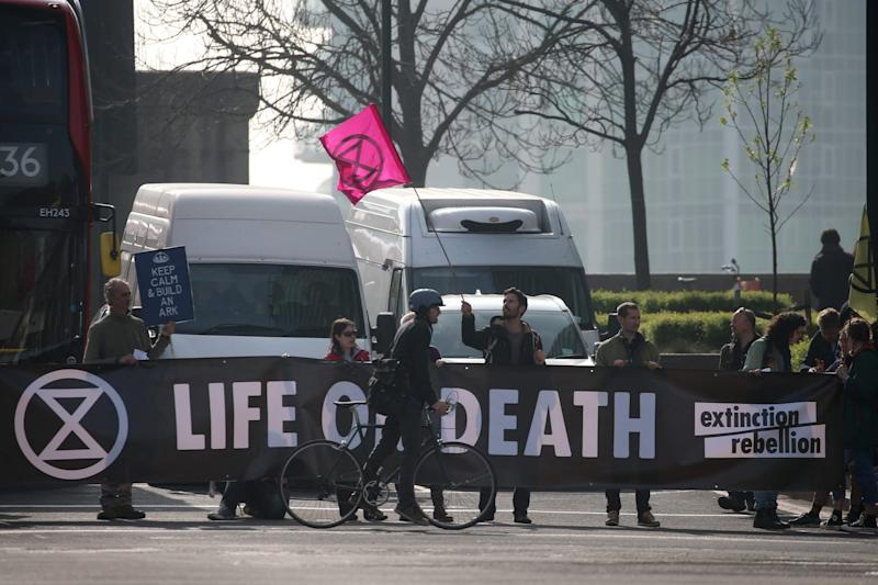 A group of protesters on Vauxhall Bridge, where they held up traffic (AFP/Getty Images)