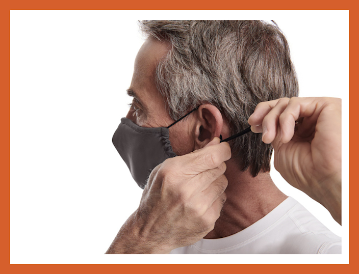 Tommie Coopper face masks adjust under the chin and at the bridge of the nose. (Photo: QVC)