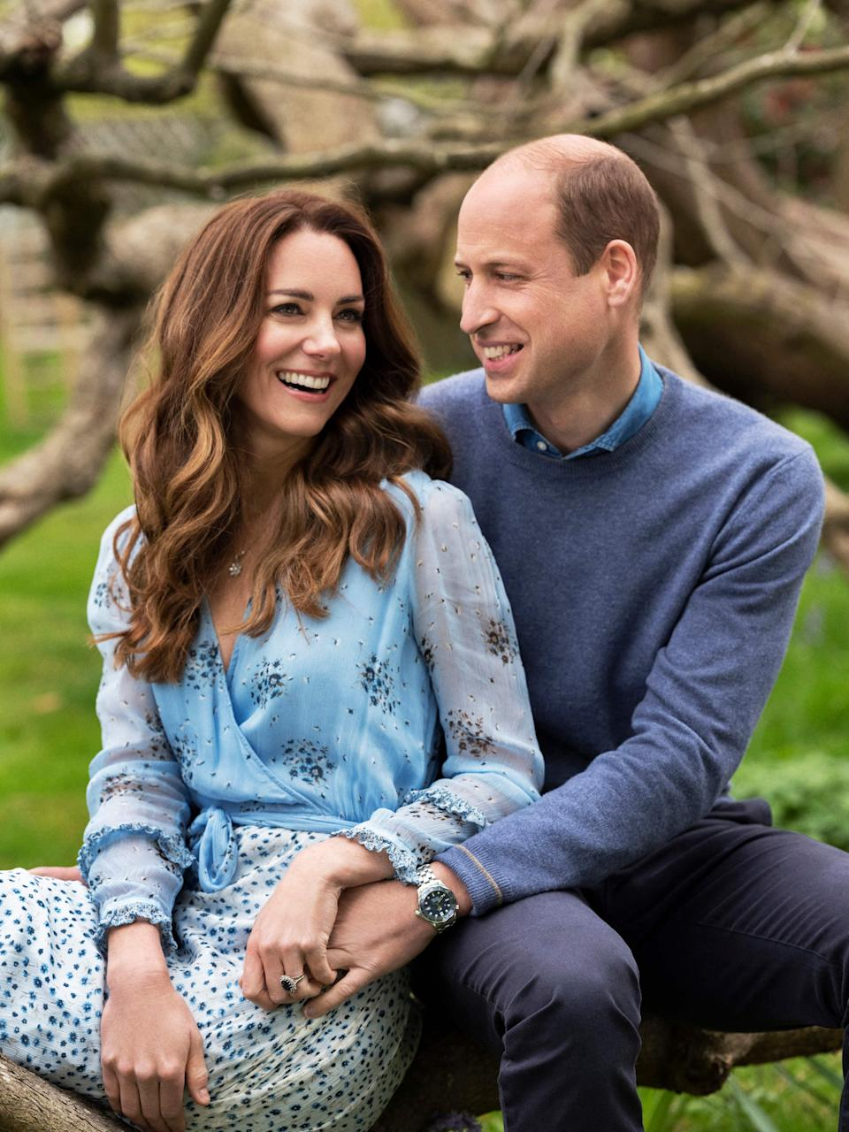 Prince William and Duchess Kate of Cambridge pose for a portrait released on April 28, 2021, to mark their 10th wedding anniversary on April 29.