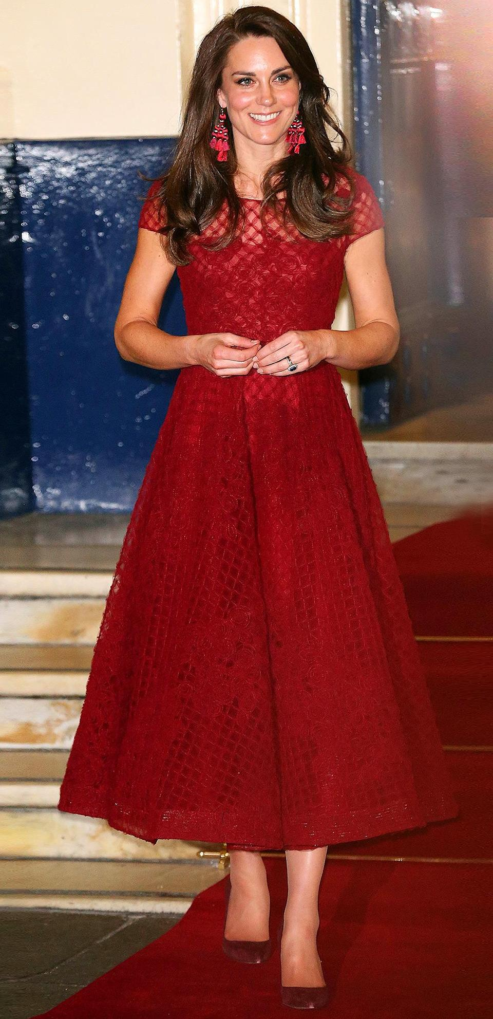 """<p><b>When:</b> April 4, 2017 <b>Where:</b> The <a href=""""http://people.com/royals/red-carpet-royal-princess-kate-steps-out-on-42nd-street/"""" rel=""""nofollow noopener"""" target=""""_blank"""" data-ylk=""""slk:opening night performance of 42nd Street in London"""" class=""""link rapid-noclick-resp"""">opening night performance of <i>42nd Street </i>in London </a><b>Wearing:</b> A Marchesa Notte dress <b>Get the Look: </b>Adrianna Papell Lace Cap-Sleeve Illusion Sheath Dress, $189; <a href=""""https://click.linksynergy.com/fs-bin/click?id=93xLBvPhAeE&subid=0&offerid=486467.1&type=10&tmpid=1513&RD_PARM1=https%3A%2F%2Fwww.macys.com%2Fshop%2Fproduct%2Fadrianna-papell-lace-cap-sleeve-illusion-sheath-dress%3FID%3D1651998%2526CategoryID%3D5449&u1=POROYALSKateSpringStyleMM"""" rel=""""nofollow noopener"""" target=""""_blank"""" data-ylk=""""slk:macys.com"""" class=""""link rapid-noclick-resp"""">macys.com</a> Bardot Kira Crochet Ruffle Dress, $129; <a href=""""https://click.linksynergy.com/fs-bin/click?id=93xLBvPhAeE&subid=0&offerid=390098.1&type=10&tmpid=8158&RD_PARM1=https%253A%252F%252Fshop.nordstrom.com%252Fs%252Fbardot-kira-crochet-ruffle-dress%252F4817433&u1=POROYALSKateSpringStyleMM"""" rel=""""nofollow noopener"""" target=""""_blank"""" data-ylk=""""slk:nordstrom.com"""" class=""""link rapid-noclick-resp"""">nordstrom.com</a> Chiffon Dress, $50; <a href=""""https://hm.evyy.net/c/249354/226427/3909?subId1=POROYALSKateSpringStyleMM&u=http%3A%2F%2Fwww.hm.com%2Fus%2Fproduct%2F91593%3Farticle%3D91593-A%26cm_vc%3DSEARCH"""" rel=""""nofollow noopener"""" target=""""_blank"""" data-ylk=""""slk:hm.com"""" class=""""link rapid-noclick-resp"""">hm.com</a> Boohoo Corded Lace Paneled Sakter Dress, $25; <a href=""""https://click.linksynergy.com/fs-bin/click?id=93xLBvPhAeE&subid=0&offerid=460292.1&type=10&tmpid=20905&RD_PARM1=http%3A%2F%2Fus.asos.com%2Fboohoo%2Fboohoo-corded-lace-paneled-skater-dress%2Fprd%2F8157349&u1=POROYALSKateSpringStyleMM"""" rel=""""nofollow noopener"""" target=""""_blank"""" data-ylk=""""slk:asos.com"""" class=""""link rapid-noclick-resp"""">asos.com</a> </p>"""