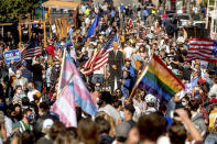 Several hundred people gather in San Francisco's Castro district to celebrate the victory of President-elect Joe Biden and Vice President-elect Kamala Harris. (AP Photo/Noah Berger)