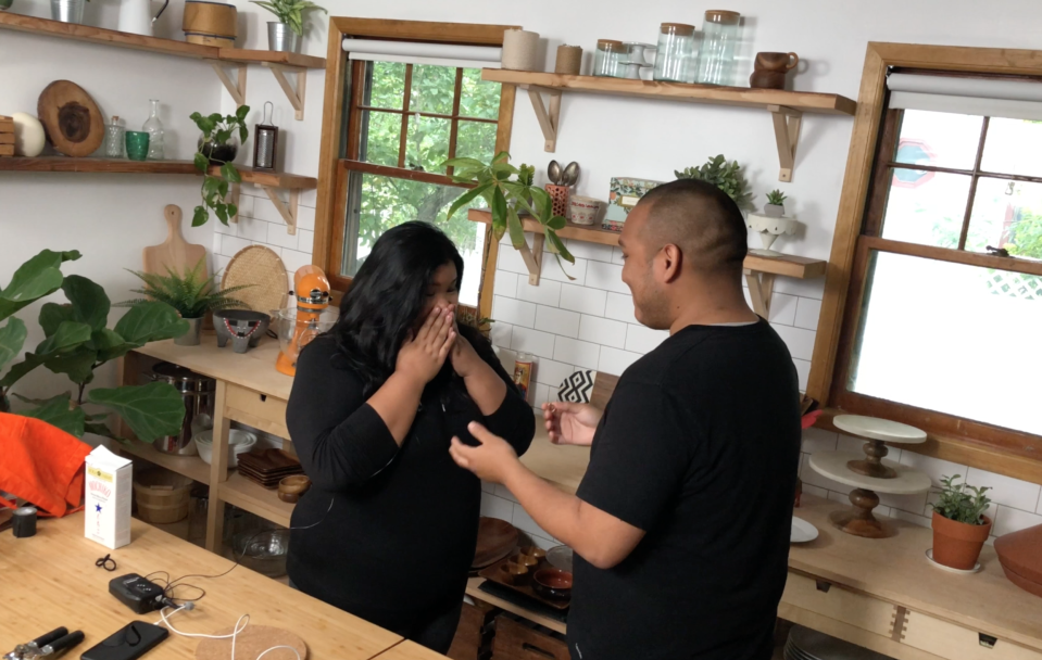 "<span class=""s1"">Samanamud popped the question when he and Phanomrat were on set for one of their video shoots. </span>(Photo Courtesy of Jen Phanomrat)"