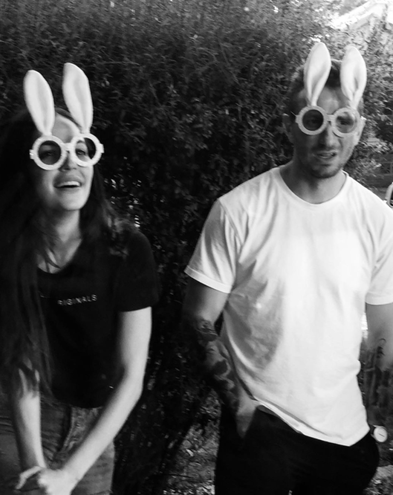 Nat Kyriacou and Tommy Little wearing glasses with Easter rabbit ears in April 2020