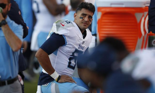 """<span class=""""element-image__caption"""">Marcus Mariota was drafted as the No2 overall pick in 2015 but has never broken through into the top tier of quarterbacks.</span> <span class=""""element-image__credit"""">Photograph: David Zalubowski/AP</span>"""