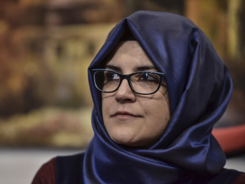 Hatice Cengiz, the fiancee of slain Saudi journalist Jamal Khashoggi, speaks during a news conference to launch of a book about the journalist, in Istanbul, Friday, Feb. 8, 2019. Cengiz says she hopeful that his killers will be punished and has appealed to legislators in the European Union and the U.S. Congress to closely follow the case. (DHA via AP)