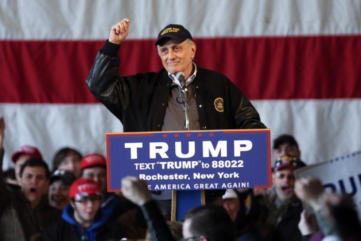 Paladino speaks before a Trump rally in Rochester, N.Y., April 10, 2016. (Photo: Mike Groll/AP)