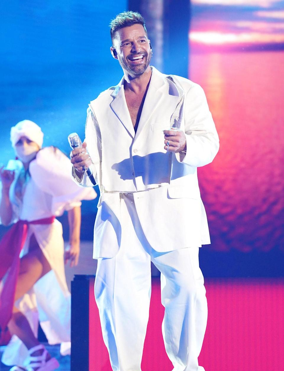 <p>Ricky Martin smiles big while performing at the Latin American Music Awards on Thursday in Sunrise, Florida. </p>