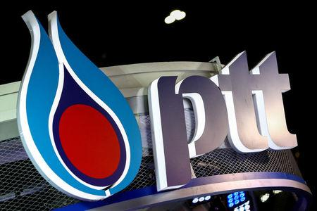 FILE PHOTO: The logo of PTT is pictured at the 38th Bangkok International Motor Show in Bangkok