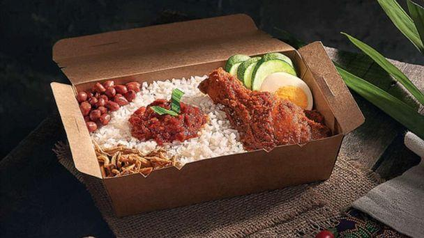 PHOTO: An undated image of Pak Nasser'ss Nasi Lemak Ayam Rendang, an item on the menu at the world's first airline food restaurant. (AirAsia/Santan and T&CO)