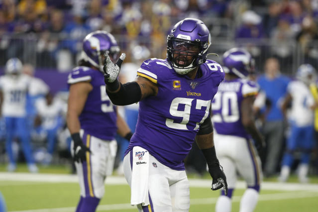 FILE - In this Sunday, Dec. 8, 2019 file photo, Minnesota Vikings defensive end Everson Griffen gets set for a play during the second half of an NFL football game against the Detroit Lions in Minneapolis. The Minnesota Vikings have another starter on defense to replace. Defensive end Everson Griffen will not re-sign with the team. Griffen and his agent announced on Friday, March 20, 2020 that they were unable to come to terms with the Vikings due to their salary-cap constraints. (AP Photo/Bruce Kluckhohn, File)