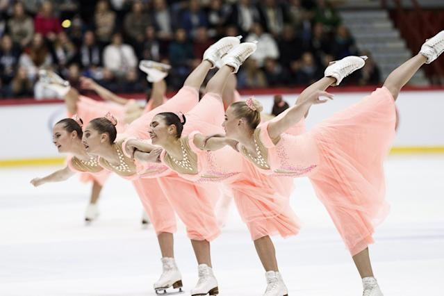 ISU World Synchronized Skating Championships 2019 - Free Skating - Helsinki, Finland - April 13, 2019. Team Paradise from Russia performs. Lehtikuva/Roni Rekomaa via REUTERS ATTENTION EDITORS - THIS IMAGE WAS PROVIDED BY A THIRD PARTY. NO THIRD PARTY SALES. NOT FOR USE BY REUTERS THIRD PARTY DISTRIBUTORS. FINLAND OUT. NO COMMERCIAL OR EDITORIAL SALES IN FINLAND.