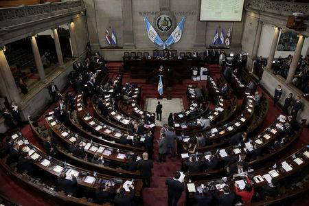 Congress members are seen at congress as they voted on Monday to preserve President Jimmy Morales's (not pictured) immunity from prosecution, in Guatemala City