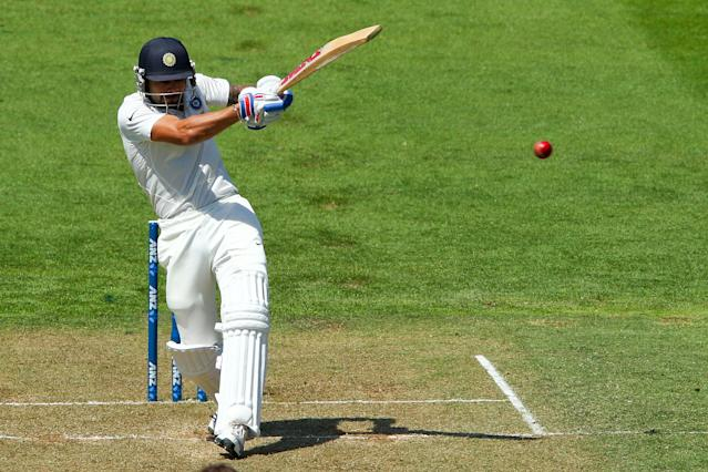 WELLINGTON, NEW ZEALAND - FEBRUARY 15: Virat Kohli of India bats during day two of the 2nd Test match between New Zealand and India on February 15, 2014 in Wellington, New Zealand. (Photo by Hagen Hopkins/Getty Images)