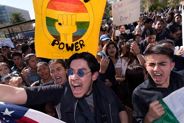 <p>Hundreds of Los Angeles high school students walkout of classes to protest President-elect Donald Trump. Los Angeles, Calif., on Nov. 14, 2016. (Ronen Tivony/NurPhoto via Getty Images) </p>