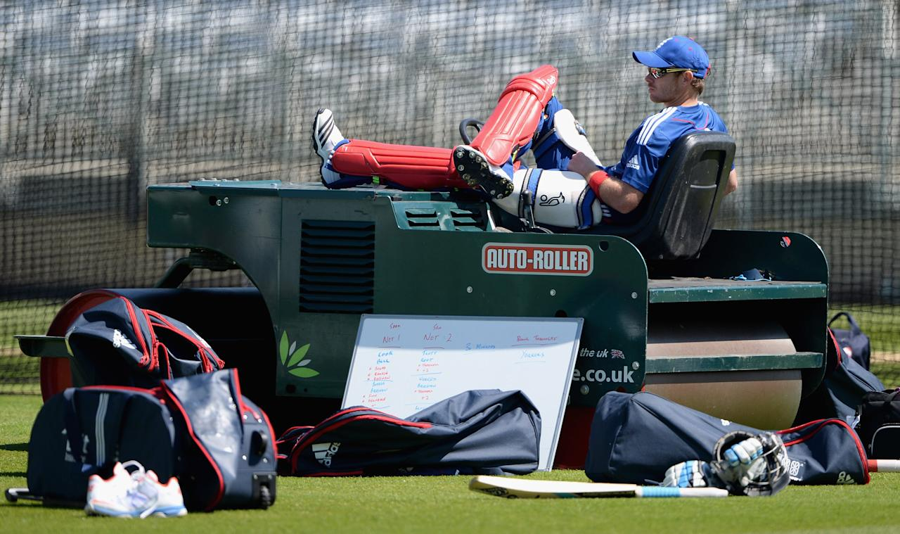 NOTTINGHAM, ENGLAND - JUNE 04:  Ian Bell of England sits on a roller as his waits to bat during a nets session at Trent Bridge on June 4, 2013 in Nottingham, England.  (Photo by Gareth Copley/Getty Images)
