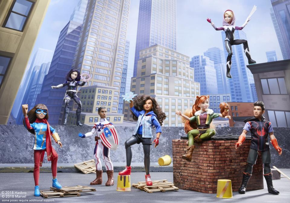 The 11-inch poseable figures, left to right, include Ms. Marvel, Daisy Johnson (aka Quake), Patriot, America Chavez, Squirrel Girl, Ghost-Spider, and Inferno. Each will cost $19.99. (Photo: Hasbro)