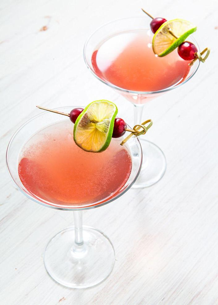 "<p>A lovely throwback to the SATC days!</p><p>Get the recipe from <a href=""https://www.delish.com/cooking/recipe-ideas/a31289978/perfect-cosmopolitan-cocktail-recipe/"" rel=""nofollow noopener"" target=""_blank"" data-ylk=""slk:Delish."" class=""link rapid-noclick-resp"">Delish.</a></p>"