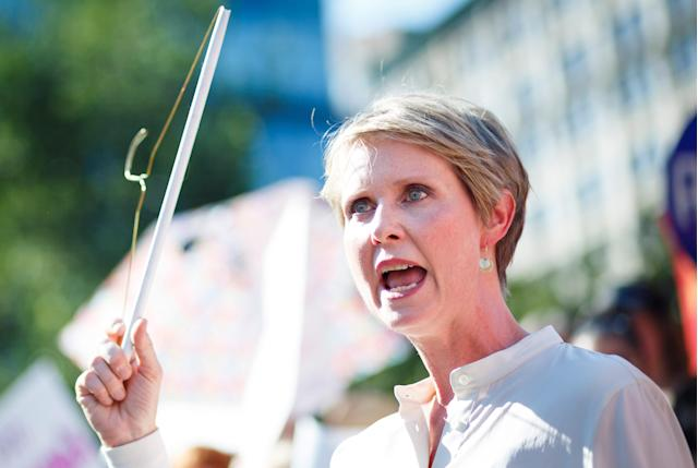 New York gubernatorial candidate Cynthia Nixon at a rally in response to President Trump's nomination of Judge Brett Kavanaugh to the Supreme Court, July 2018. (Photo: Justin Lane/EPA-EFE/Rex/Shutterstock)