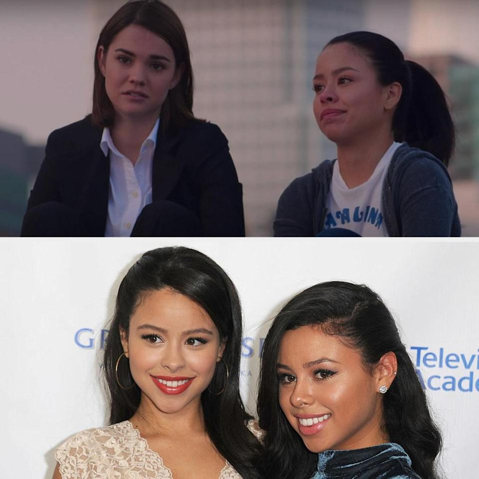 Above, Callie and Mariana are sitting on a roof together. Below, Cierra and Savannah are at the Television Academy Honors