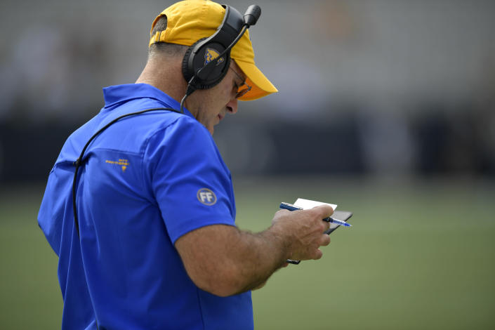 Pittsburgh head coach Pat Narduzzi stands on the sidelines during the first half of an NCAA college football game against Georgia Tech, Saturday, Oct. 2, 2021, in Atlanta. (AP Photo/Mike Stewart)