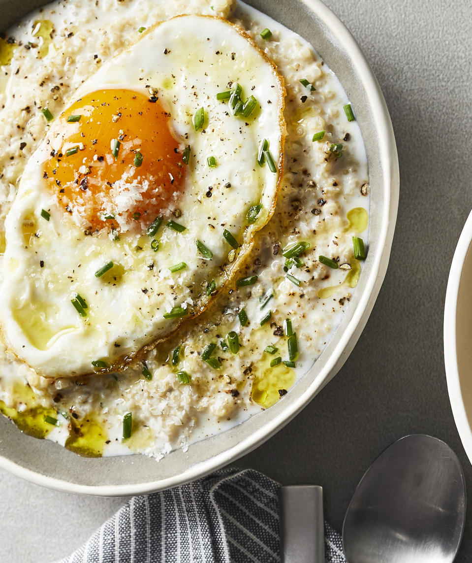 """<p><strong>Recipe: </strong><a href=""""https://www.southernliving.com/syndication/savory-quinoa-porridge"""" rel=""""nofollow noopener"""" target=""""_blank"""" data-ylk=""""slk:Quinoa Porridge With Crispy Fried Egg"""" class=""""link rapid-noclick-resp""""><strong>Quinoa Porridge With Crispy Fried Egg</strong></a><a href=""""https://www.southernliving.com/syndication/savory-quinoa-porridge"""" rel=""""nofollow noopener"""" target=""""_blank"""" data-ylk=""""slk:"""" class=""""link rapid-noclick-resp""""><br></a></p> <p>Quinoa isn't just for suppertime. It's a delicious base for this easy, savory bowl that will keep you full until lunch.</p>"""
