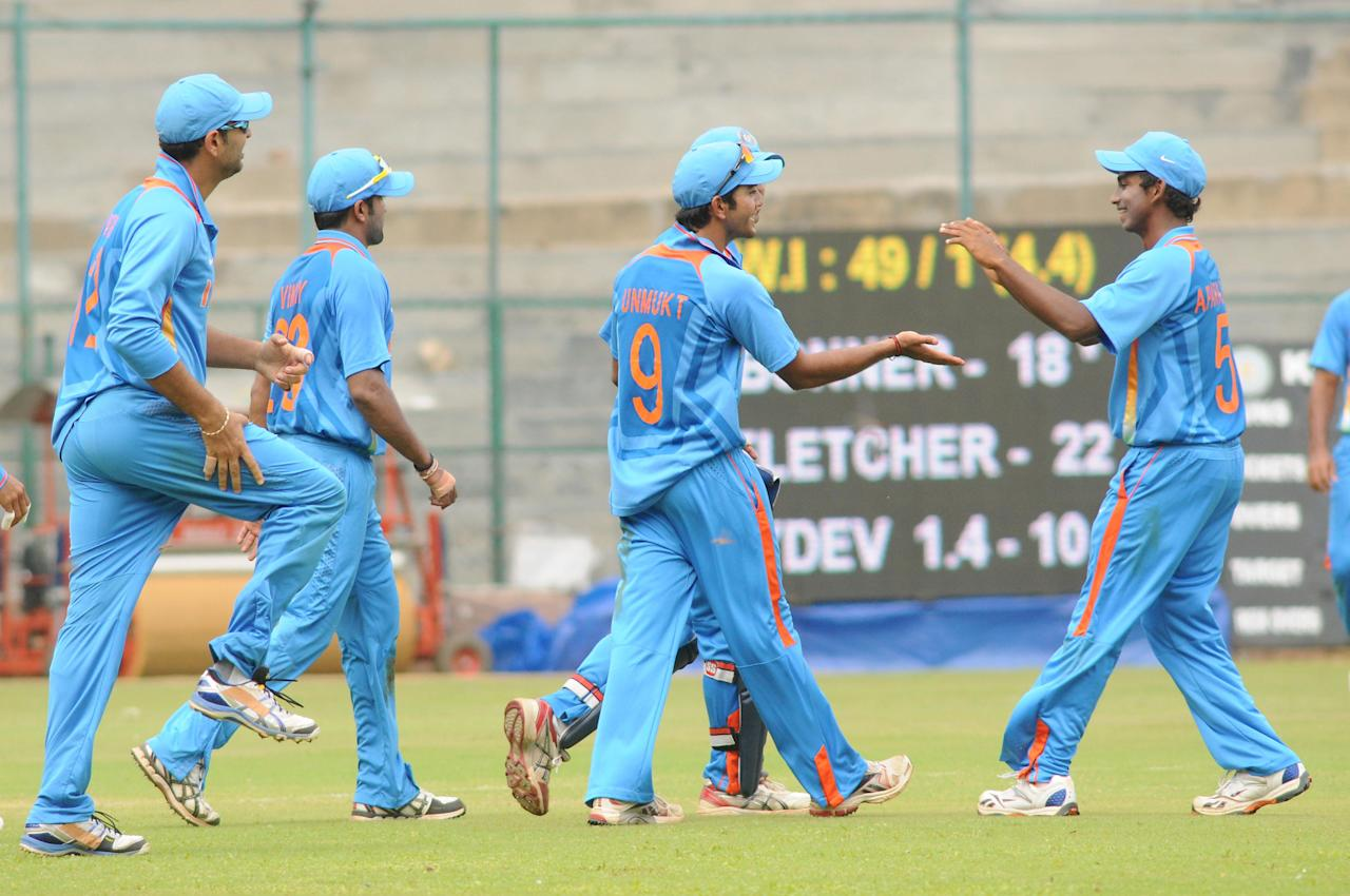 India A team players celebrates after the wicket of West Indies A team, during  India A team v/s West Indies A team unofficial T-20 cricket match at Chinnaswamy Stadium, in Bangalore on Saturday 21st of Sept. 2013. (Photo: IANS)