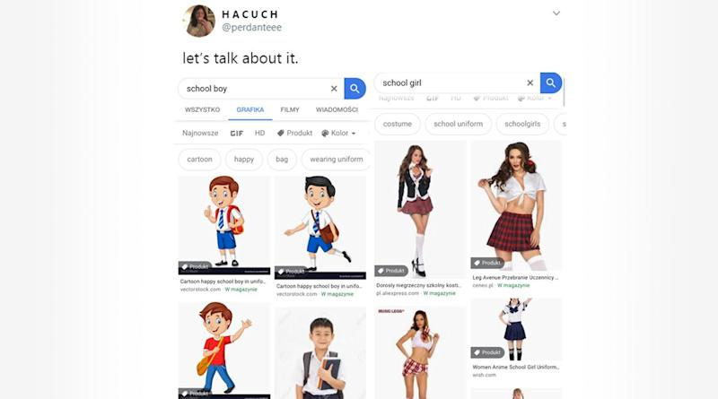 Google Image Results of School Girl vs School Boy Sparks Twitter Debate on Sexualisation of School Girls Portrayed in X-Rated Pics Wearing Skimpy Uniforms!