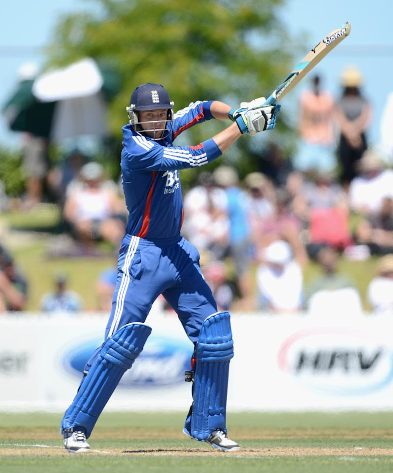 WHANGAREI, NEW ZEALAND - FEBRUARY 06:  Jos Buttler of England bats during a T20 Practice Match between New Zealand XI and England at Cobham Oval on February 6, 2013 in Whangarei, New Zealand.  (Photo by Gareth Copley/Getty Images)