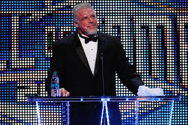 IMAGE DISTRIBUTED FOR WWE - The Ultimate Warrior speaks during the WWE Hall of Fame Induction at the Smoothie King Center in New Orleans on Saturday, April 5, 2014. (Jonathan Bachman/AP Images for WWE)