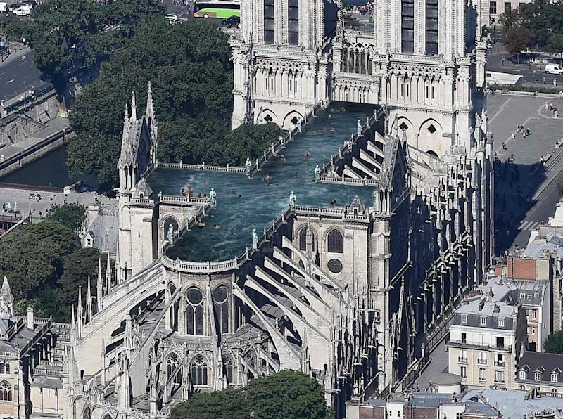 One of the designs for Notre Dame includes a rooftop swimming pool
