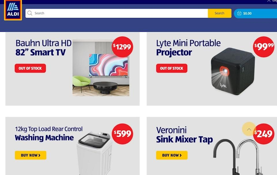 Aldi website online special buys shopping options.
