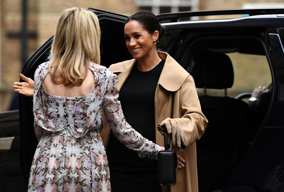 Meghan, Duchess of Sussex visits Smart Works and is greeted by CEO of Smart Works Kate Stephens on January 10, 2019 in London. (Photo: Clodagh Kilcoyne – WPA Pool/Getty Images)