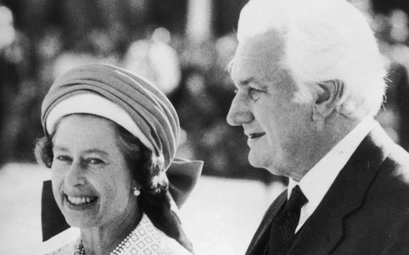 Sir John Kerr, the Governor-General of Australia, escorts Queen Elizabeth II to her aircraft at Perth Airport, following her Jubilee Tour of the country. - Central Press