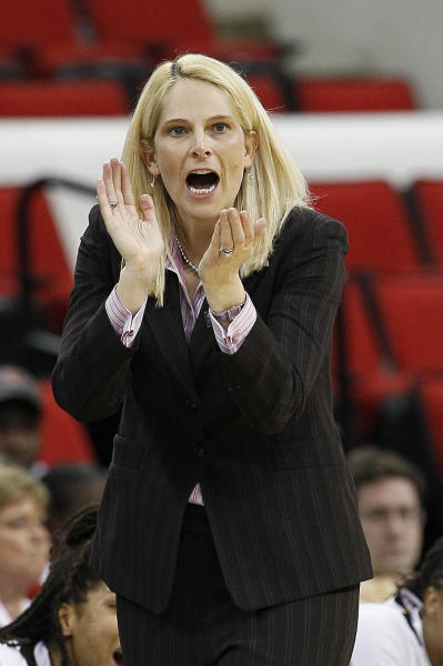 Maryland coach Brenda Frese reacts during the second half of an NCAA college women's tournament regional semifinal basketball game against Texas A&M in Raleigh, N.C., Sunday, March 25, 2012. Maryland won 81-74. (AP Photo/Gerry Broome)