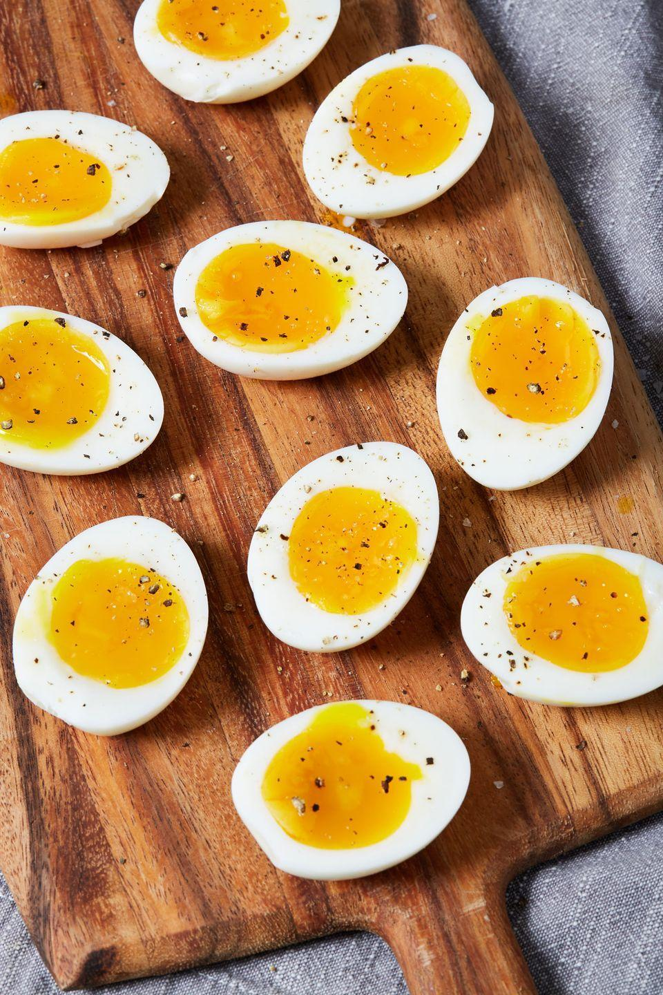 """<p>As simple as can be!</p><p>Get the recipe from <a href=""""https://www.delish.com/cooking/recipe-ideas/a29861001/how-to-soft-boil-eggs/"""" rel=""""nofollow noopener"""" target=""""_blank"""" data-ylk=""""slk:Delish."""" class=""""link rapid-noclick-resp"""">Delish.</a></p>"""