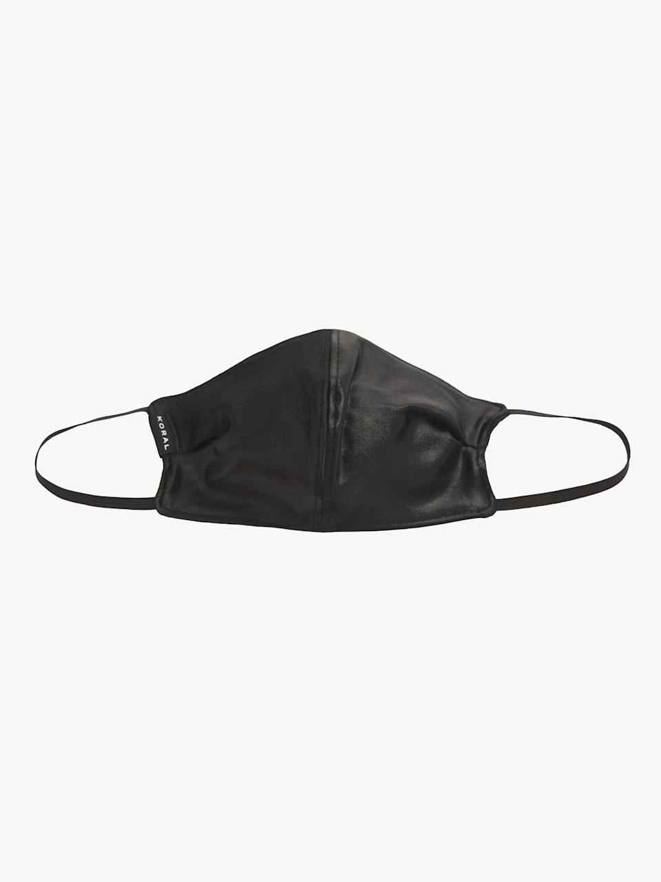 <p>The fast-drying <span>Koral Infinity Face Mask</span> ($20) is made with antimicrobial performance fabrics, and it gets bonus points for its tight-knit UV protection, so you can feel confident wearing the mask inside and out.</p>