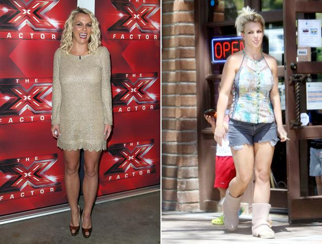 Worst dressed celebrities 2012: Britney Spears may have bagged herself a role on US X Factor in 2012 but it didn't do much to change her sense of style. Her sartorial choices have been a bit hit and miss throughout the series , and her off-duty clothes aren't much better.
