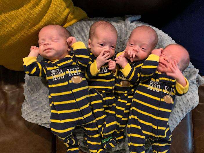 Having identical spontaneous quadruplets was shocking enough, but when Jenny Marr went into labor during the COVID-19 pandemic it was the first time she truly worried.  (Courtesy Marr family)
