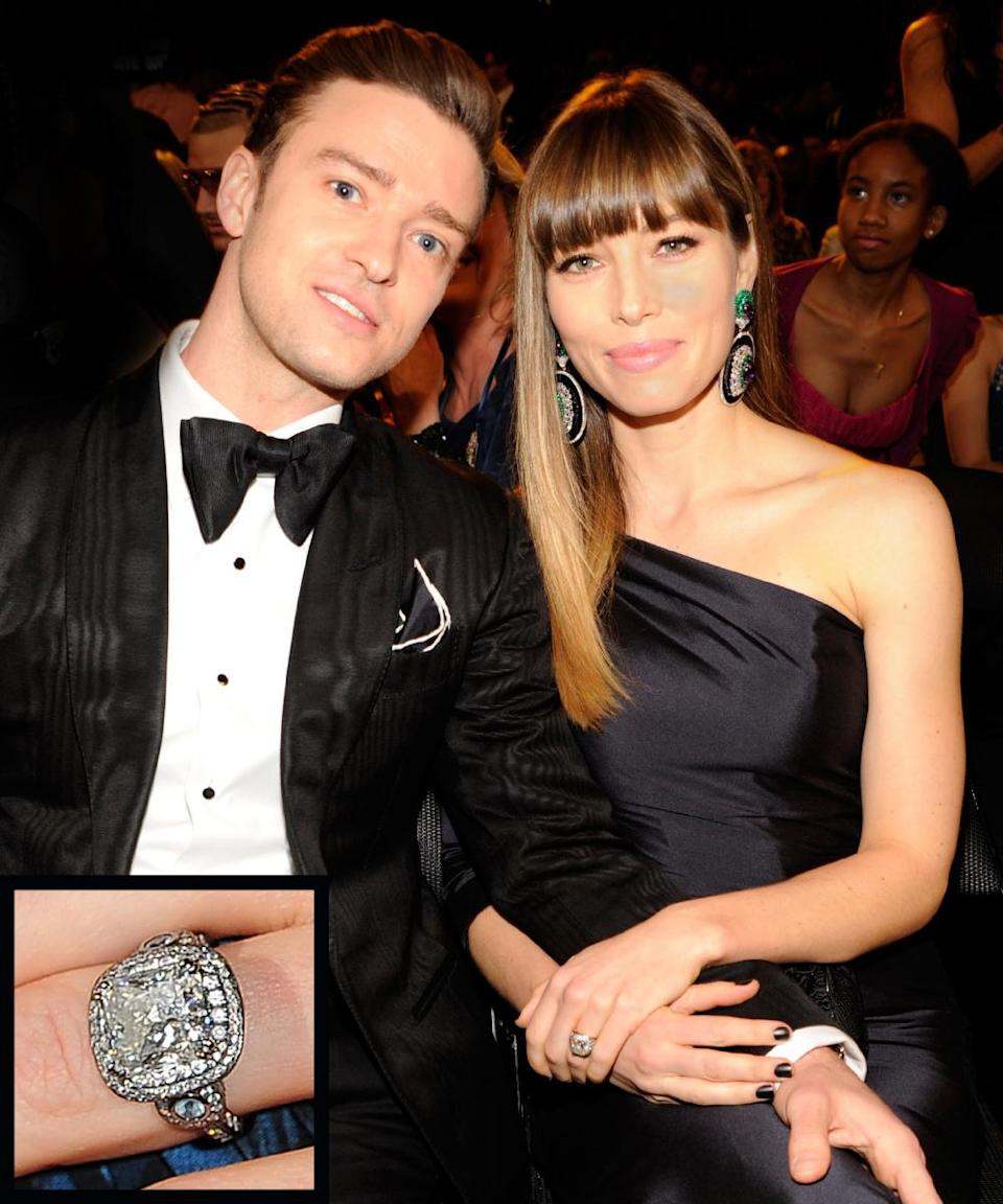 <p>Justin Timberlake proposed to wife Jessica Biel in December 2011 while vacationing in Montana with an 18-carat white gold and black rhodium plated ring. The setting featured two aquamarines on either side, Biel's birthstone. The couple married in 2012.</p>