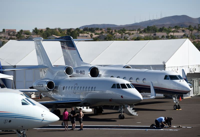 Business jets are seen at the NBAA exhibition in Las Vegas