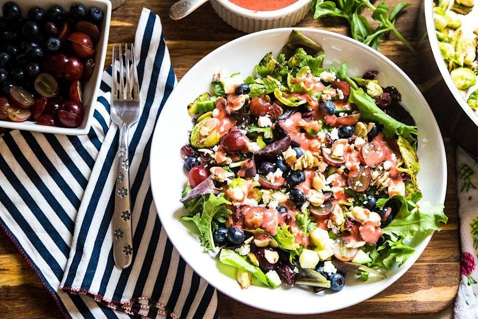"<p>Yes, even salads can be exciting when they're prepared with care. This fabulous starter is loaded with interesting, springy toppings, including grapes, blueberries, dried cranberries, feta cheese, and candied almonds.</p><p><strong><a href=""https://www.thepioneerwoman.com/food-cooking/recipes/a94211/brussels-sprout-and-kale-salad-with-strawberry-basil-vinaigrette/"" rel=""nofollow noopener"" target=""_blank"" data-ylk=""slk:G"" class=""link rapid-noclick-resp"">G</a></strong><strong><a href=""https://www.thepioneerwoman.com/food-cooking/recipes/a94211/brussels-sprout-and-kale-salad-with-strawberry-basil-vinaigrette/"" rel=""nofollow noopener"" target=""_blank"" data-ylk=""slk:et the recipe"" class=""link rapid-noclick-resp"">et the recipe</a>.</strong></p><p><strong><a class=""link rapid-noclick-resp"" href=""https://go.redirectingat.com?id=74968X1596630&url=https%3A%2F%2Fwww.walmart.com%2Fsearch%2F%3Fquery%3Dsalad%2Bbowls&sref=https%3A%2F%2Fwww.thepioneerwoman.com%2Ffood-cooking%2Fmeals-menus%2Fg35589850%2Fmothers-day-dinner-ideas%2F"" rel=""nofollow noopener"" target=""_blank"" data-ylk=""slk:SHOP SALAD BOWLS"">SHOP SALAD BOWLS</a></strong></p>"