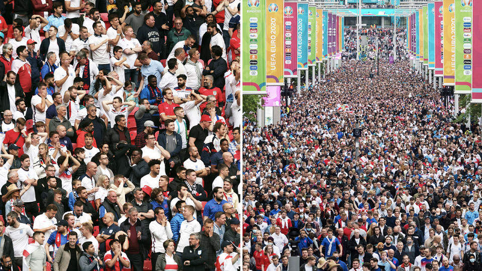 Over 40,000 fans, pictured here packed into Wembley Stadium for England's Euro 2020 clash with Germany.