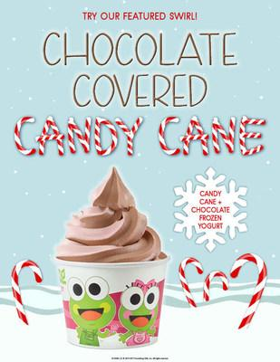 sweetFrog delivers holiday cheer with classic winter swirl; Chocolate Covered Candy Cane! Available through January 4, 2020.