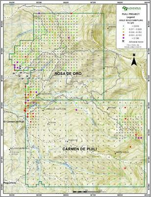 Figure 5: Surficial Soil Sample Map (Gold values) (CNW Group/Adventus Mining Corporation)
