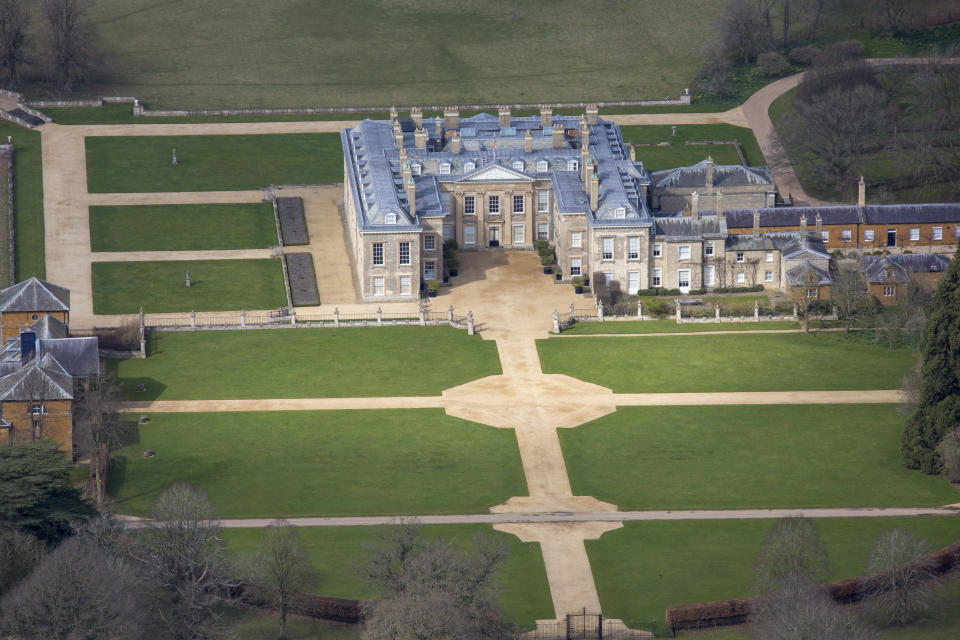 NORTHAMPTONSHIRE, ENGLAND. Aerial view of Althorp, this grade 1 listed stately home was the home of Lady Diana Spencer who later became the Princess of Wales, it is located on the Harlestone Road between the villages of Great Brington and Harlestone, 5 miles north west of Northampton. Photograph by David Goddard/Getty Images)