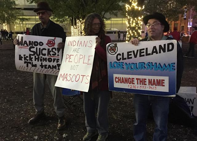 Protestors outside of World Series Game 1 in Cleveland. (Yahoo Sports)